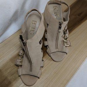 BCBG Buckle & Zip Leather Peeptoe Booties Size 8